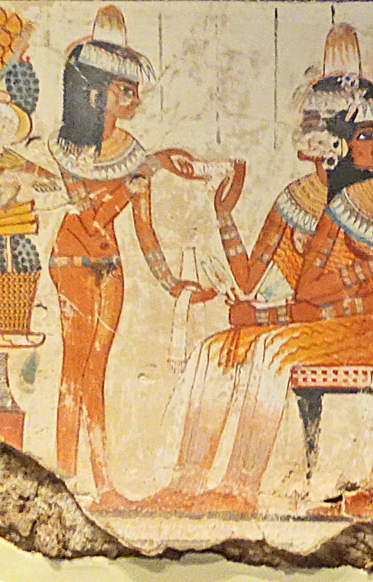Naked waitress serving couple from tomb of Nebamun